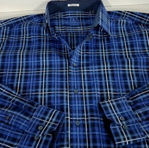 Bugatchi Uomo Plaid Button Down Shirt 2XLT Tall